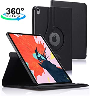 Povinmos iPad Pro 12.9 Case 2018 3rd Generation, Premium 360 Degree Rotating Stand Smart Shockproof Cover Slim Leather Case for Apple iPad Pro 12.9 Inch 2018, Support Apple Pencil Charging- Black
