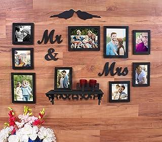 Art Street - Mr & Mrs Set of 9 Wall Photo Frame MDF Plaque (2 Birds, Mr & Mrs) and 1 PVC Wall Shelf