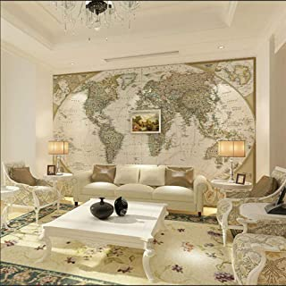 Zbybbby Waterproof Silk Cloth Wallpaper Customize European Retro Large HD The World Map Mural Wallpapers for Office Living Room Study Wall Murals 3D Wall Papers Home Deocr-140cmx100cm