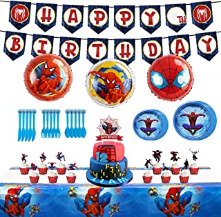 Spiderman Party Supplies, Birthday Decorations Party favor Include Banner Cake Cupcake Toppers Foil Balloons, and Latex Ba...