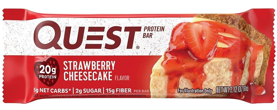 トランジスタ振るう攻撃クエストニュートリション(Quest Nutrition) プロテインバー ストロベリーチーズケーキ (60g x 12本) [海外直送][並行輸入品]