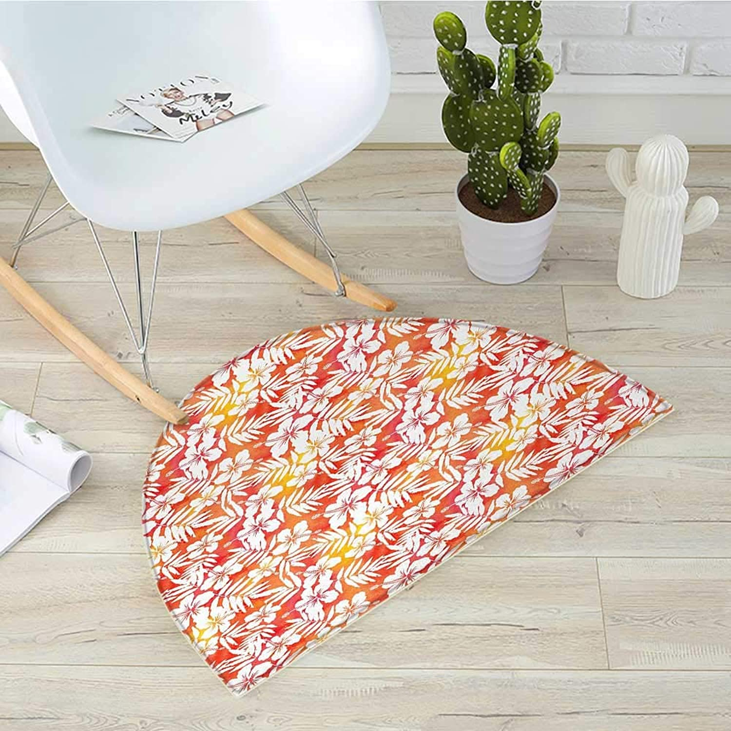 orange Half Round Door mats Fantasy Watercolor Backdrop with White Hibiscus Blossoms Leaves Aloha Jungle Bathroom Mat H 39.3  xD 59  Yellow Coral White