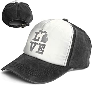 Fashion Vintage Hat Michigan Love Adjustable Dad Hat Baseball Cowboy Cap