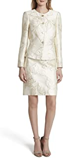 Tahari ASL Women's Gold Floral Nested 4 Button Jacket and A-line Skirt