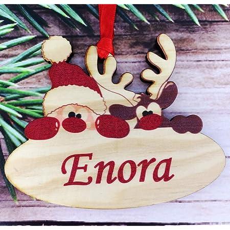Gravure Events Décoration de Sapin en Bois personnalisée avec Votre prénom (Un Joli Cadeau, Une Alternative à la Boule de Noël Traditionnelle en Verre, Personnalisation avec Le prénom de Votre Choix)