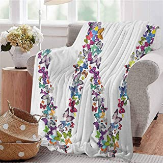 Letter W Bedding Microfiber Blanket Collection of Butterflies Language of Grace Alphabet Font Letter W Girls Design Super Soft and Comfortable Luxury Bed Blanket W91 x L60 Inch Multicolor
