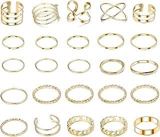 YADOCA 25 Piezas Anillos para Mujer Anillo Midi para Niñas Anillo de Nudillos Bohemios Set Dedo de Moda Vintage Plata Oro ...