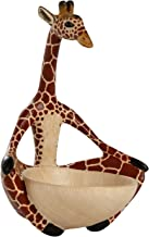 Ten Thousand Villages Carved Wood Bowl 'Yoga Giraffe Bowl'