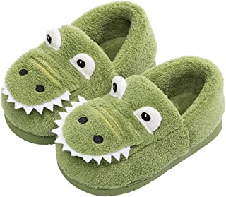 AngelGift Toddler Boys Girls Dinosaur Slippers Kids Warm House Shoes Indoor Bedroom Shoes