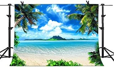 7X5FT Summer Beach Backdrop for Photography Picture Vinyl Blue Sea and Sky Background Tropical Coconut Palm Tree Photo Backdrop Ocean Vacation Theme Party Decoration Studio Photo Booth Props SPGE081