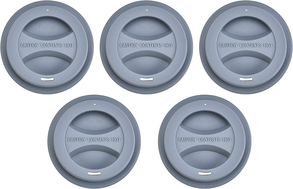 Silicone Mug Lid KSENDALO 5 Pack Reusable Travel Mug Lid For 12oz 16oz Coffee Cups Drinking Tea Coffee Cup Cover Gray