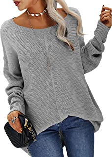 Sponsored Ad - Danedvi Women Fashion Casual Round Neck Loose Solid Color Pullover Sweaters Knitwear Tops