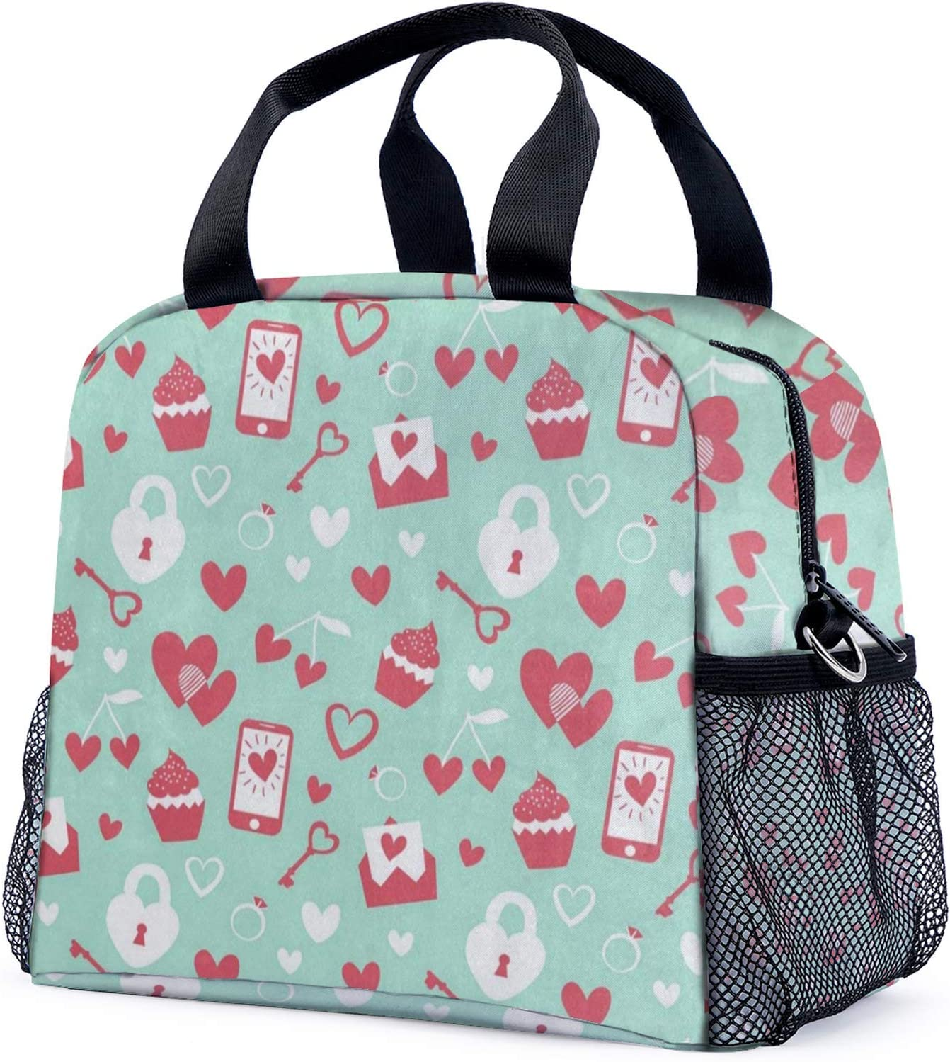Lunch Bags For Women Men Valentine's Day Red Heart Cake Insulate