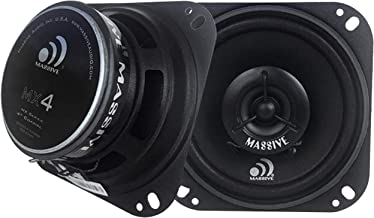 Massive Audio MX4 MX Series Coaxial Car Speakers. 60 Watts, 4 Ohm, Heavy Duty 4 Inch Shallow Mount Car Speakers. Enjoy Crystal Clear Sound with These Great Car Speakers Set (Sold in Pairs)