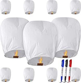 All Natural Shop 11 Pack Chinese Sky Lanterns - 100% Biodegradable. Wire-Free Paper Japanese Prime Lantern to Release in Sky. (White)