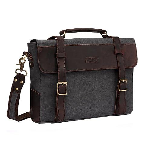 54c9638315c9 Vaschy Vintage Genuine Leather Canvas Messenger Bag Laptop Briefcase  Satchel Shoulder Bag Bookbag with Detachable Strap