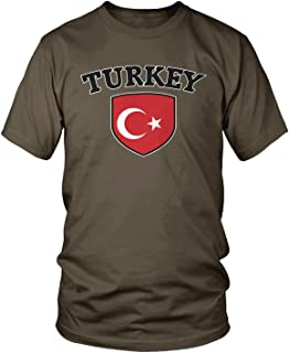 Amdesco Men's Turkey Flag Shield, Turkish Pride T-Shirt, Dark Chocolate Medium