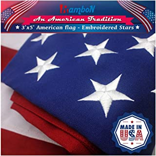 RamboN American Flag 3x5 ft. Heavy Duty 220GSM Tough Spun Polyester Outdoor US USA Flags - UV Protected, Embroidered Stars, Sewn Stripes