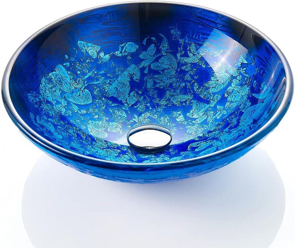 Buy Fanwin Star Blue Oceanmystery Series Tempered Deco Glass Vessel Bathroom Sink In Starry Blue Top Mount Sinks Above Countertop Vanity Countertop Sink Bowl With Pop Up Drain Fw La604 Online