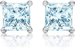 aquamarine princess cut earrings