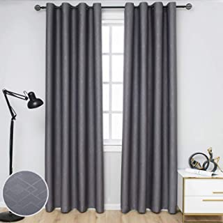 SimplyEasy Room Darkening Modern Blackout Curtains for Bedroom Embossed Geometric Pattern Thermal Insulated Window Draperies for Living Room, Set of 2 Panels (52