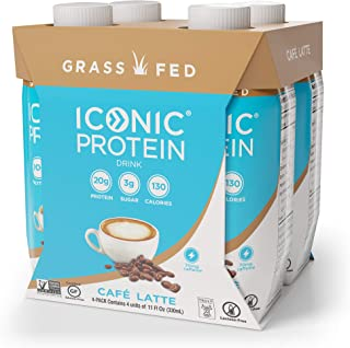 Iconic Protein Drinks, Café Latte (4 Pack)   Low Carb, Grass Fed, High Protein Super Coffee   20G Protein + 180mg Caffeine   Lactose Free, Gluten Free, Non-GMO, Kosher   Keto Friendly