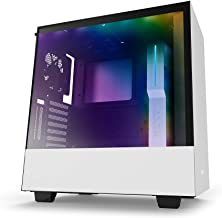 NZXT H500i White and Black Mid Tower PC Case with 2 AER F Fans, Tempered Glass Side Panel, 2 USB 3.0 Ports, 2 RGB Strips and CAM Smart Device, Supports ATX, MicroATX and Mini-ITX Motherboards