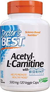Doctor's Best Acetyl L-Carnitine, Help Boost Energy Production, Support Memory/Focus, Mood, Non-GMO, Vegan, Gluten Free, 1...