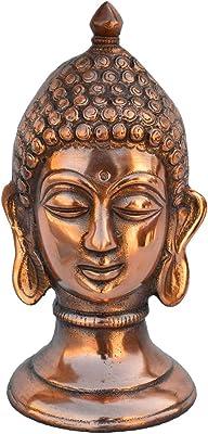 eCraftIndia Metal Lord Buddha Showpiece (10.16 cm x 10.16 cm x 20.32 cm, Brown)