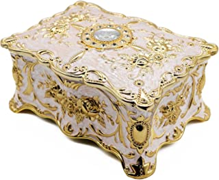 AVESON Luxury Vintage Rectangle Metal Alloy Jewelry Box Trinket Organizer Storage Box with Rose Pattern for Women, Girls, ...