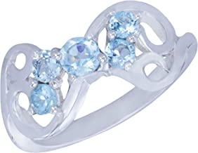 Caratera Sophisticated Genuine Natural Aquamarine Gemstone Sterling Silver Round Shapes 5 Stone Jewelry Womens Ring Size 7