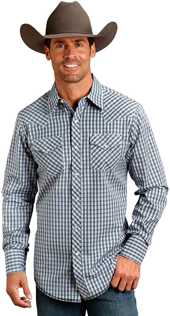 Stetson Western Shirt Mens L/S Plaid Snap Blue 11-001-0478-3005 BU