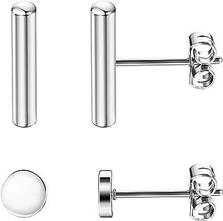 2 Pairs 925 Sterling Silver Bar Dot Stud Earrings Set for Women Men Simplify Round Stick Cylinder Earrings Hypoallergenic
