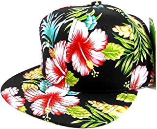 aad945ff70bf9 All Over Hawaiian Print Snapback Hat Cap Flat Bill Floral Black #2