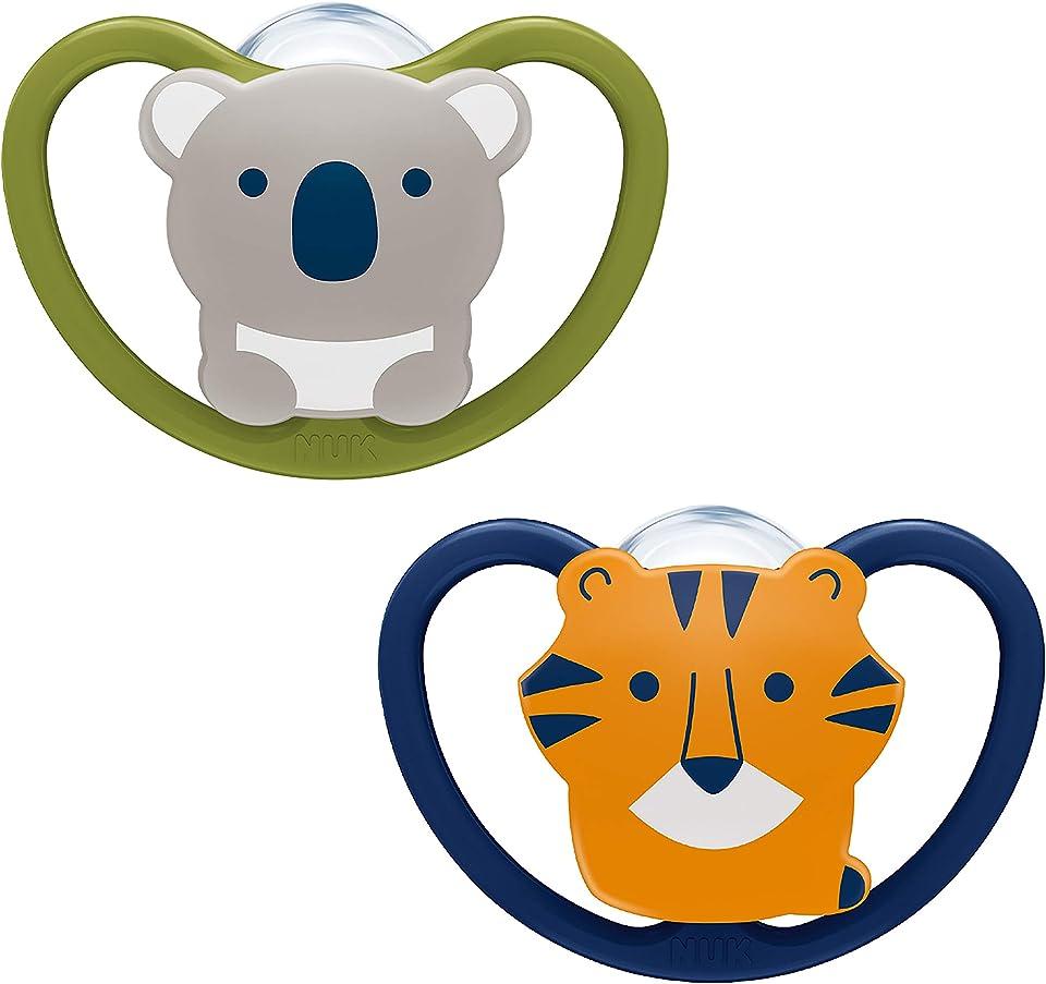 NUK Space Baby Schnuller, 6-18 Monate, Silikon, Koala und Tiger, 2 Stück