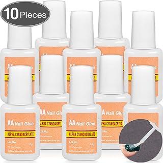 10 Packs Adhesive False Nail Glue Brush-On Nail Glue Quick Nail Glue for Nail Make Up Supplies