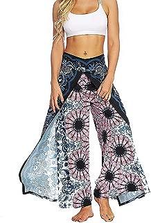 MsAnya Womens Palazzo Slit Wide Leg Pants Summer Casual Beach Boho Hippie Bohemian Pilate Plus Size 10-18