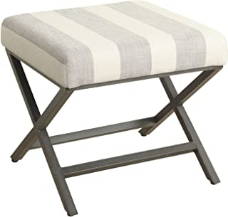 HomePop Modern Square Metal X-Base Ottoman, Tan and Cream Awning Stripe
