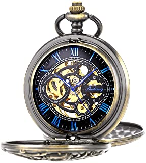 SIBOSUN Pocket Watch Mechanical Skeleton Roman Numerals Steampunk Double Case Fob Watch for Men Women with Chain