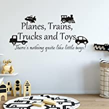 MoharWall Kids Playroom Decal Boy Room Wall Art Sticker Vinyl Quote Nursery Planes Trains Trucks Toys Wall Decor There is Nothing Quite Like Little Boys