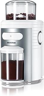 SEVERIN KM 3873 Molinillo de Café, Cono Triturador de Acero Inoxidable, Máx. Capacidad 150 g, 150 W aprox., Blanco/Plateado