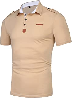 Daupanzees Men's Casual Classic Solid Short Sleeve Jersey Polo Shirt