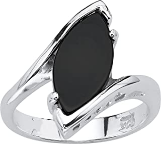 Sterling Silver Marquise Shaped Natural Black Onyx Ring