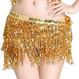 Aivtalk Women Wrap Skirt Belly Dance Hip Scarf Sequin Gypsy Belt Costumes