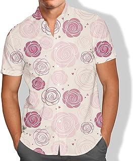 Camisa Praia Masculina Broto Rosas Flores Tropicais