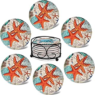 Ymeibe Absorbing Stone Sea Ocean Life Coasters for Drinks - Cork Base with Holder, Coastal Decor Beach Theme Tropical, for...