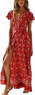 Vestido de Verano Mujer Impresión Maxi Vestidos de Playa Elegante Beachwear Largo Dress con Cinturón Sexy V-Cuello Manga Corta Hendidura Vestido de Partido