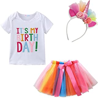 Little Girl Birthday Outfit Tops and Skirt Tutu Clothes Set