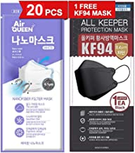[20 Pack] [Air Queen] White 3-Layers Face Safety Mask for Adult + 1 [Black] All Keeper KF94 Mask [Individually Packaged] [...