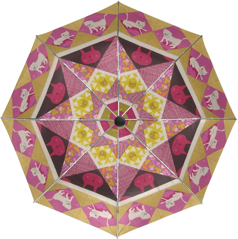 MASSIKOA Cats Windproof Windproof Foldable Rain Travel Canopy Umbrella Auto Open Close Button